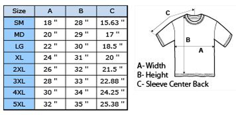 Gildan Men's T Shirt Size Guide