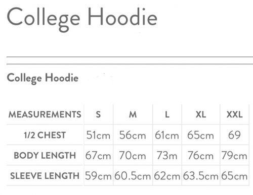 Hoody Sizes