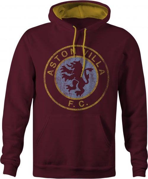 Aston Villa Varsity Conrast Hoody in Claret and Gold