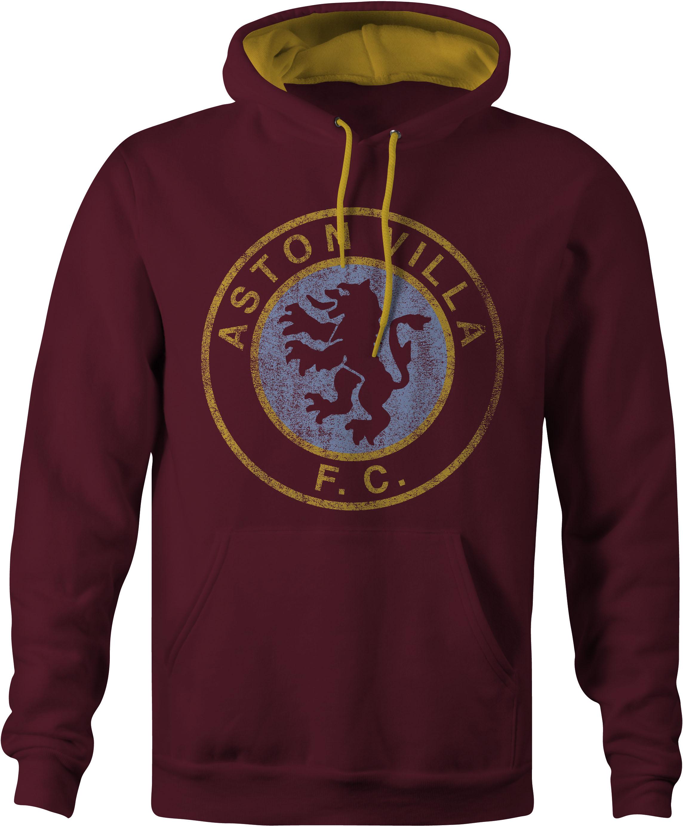 Aston Villa Varsity Conrast Hoody in Claret and Gold