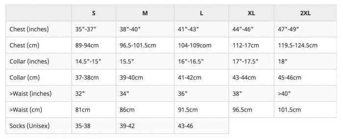 FOTL Valueweight Size Guide