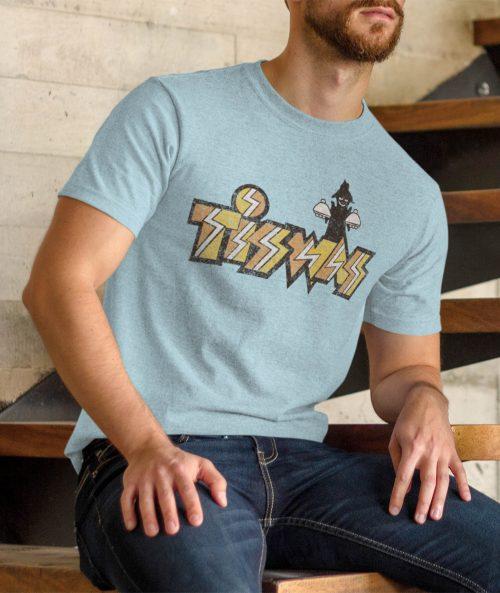 man in light blue tiswas t shirt