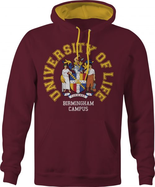 University of Life varsity contrast hoody in burgundy and gold