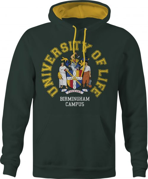 University of Life varsity contrast hoody in forest green and gold