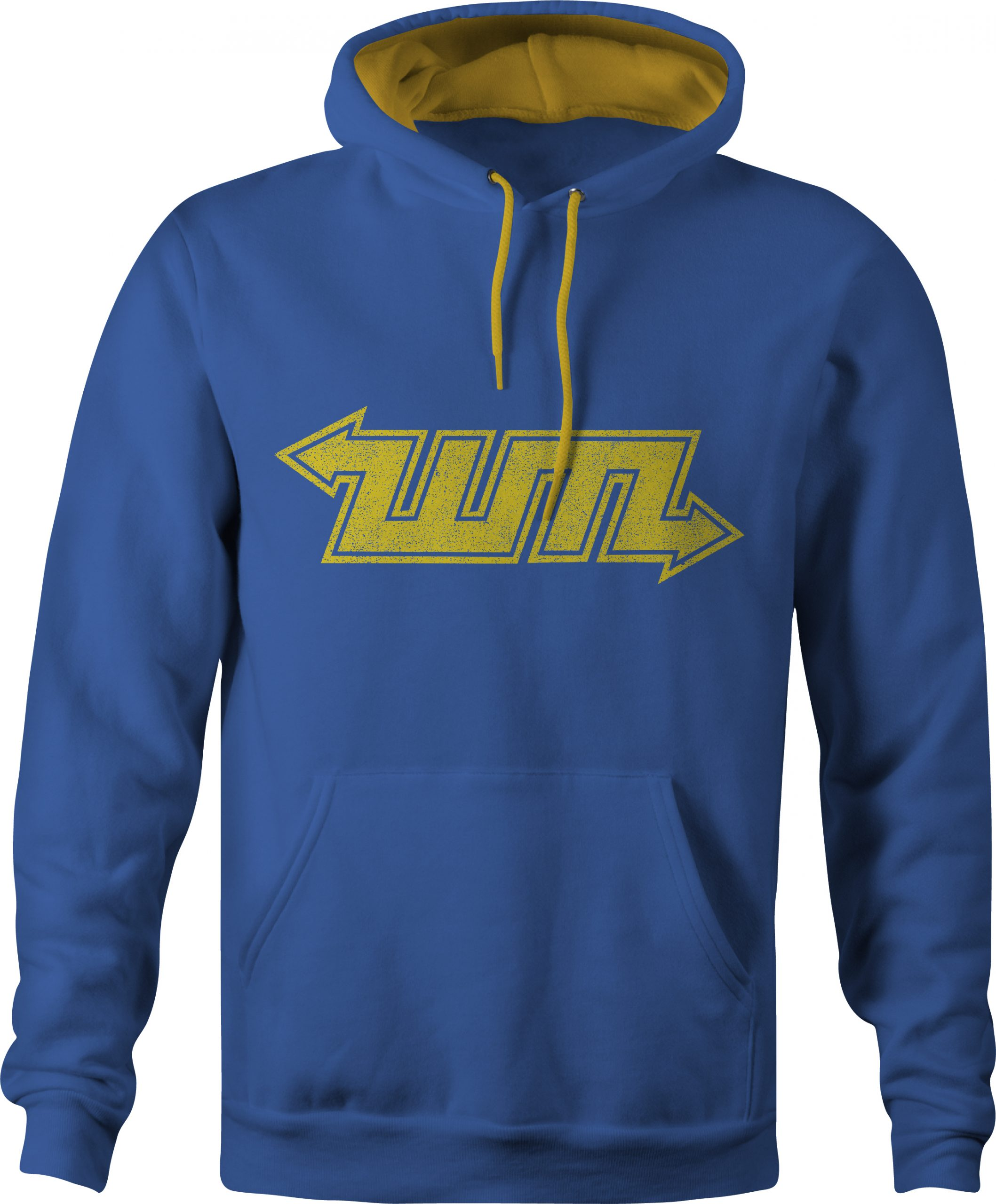 WMPTE buses contrast varsity hoody in blue and yellow