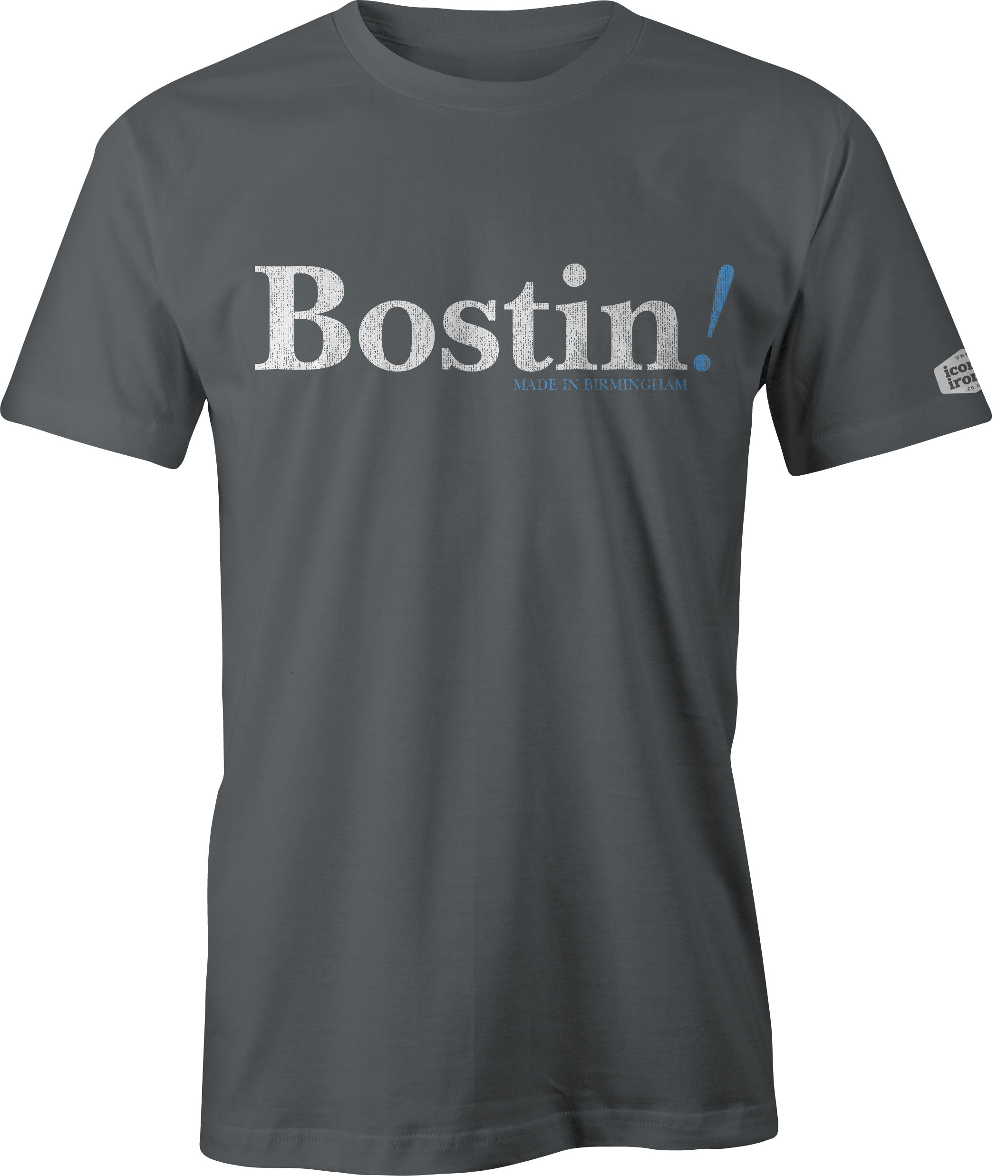 Bostin! Made In Birmingham t shirt in charcoal
