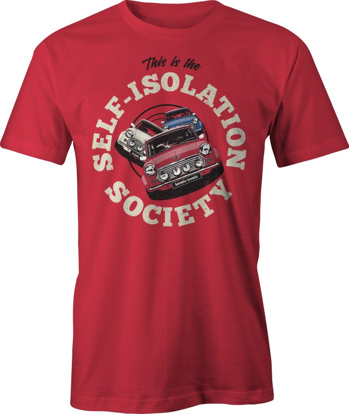 Self Isolation Society T Shirt in red
