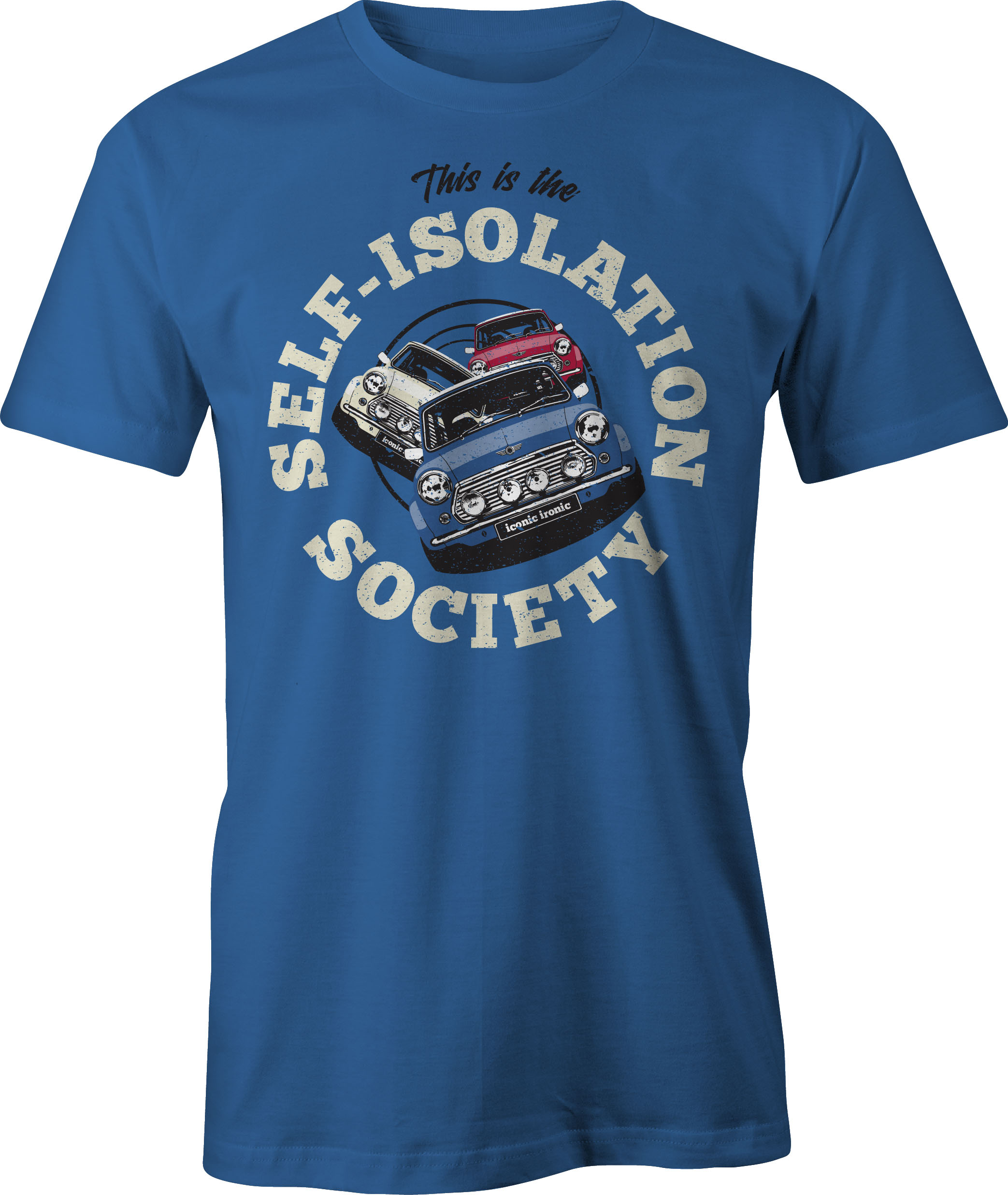 Self Isolation Society T Shirt in blue