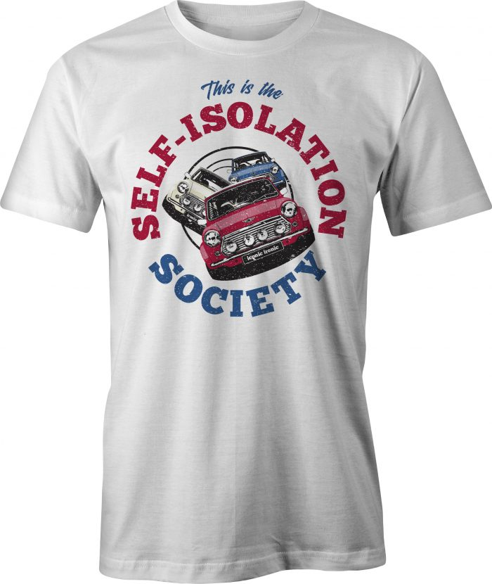 Self Isolation Society T Shirt in white