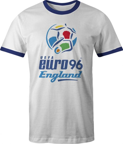 Euro 96 logo ringer t shirt in white and navy