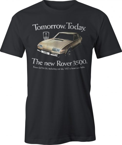 Black t shirt with Rover 3500 SD1 graphic and wording