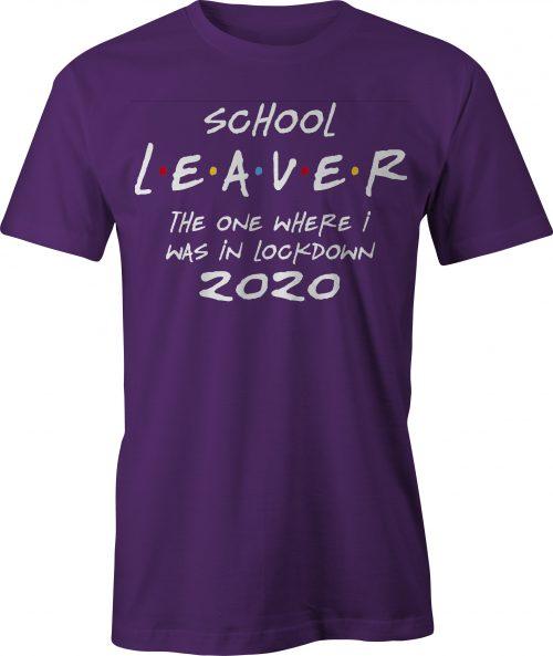 School leaver in lockdown t-shirt - purple