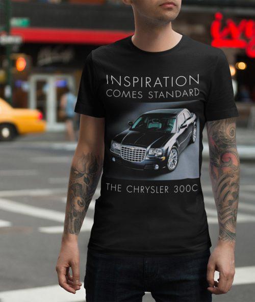 Man in a New York street wearing a Chrysler 300c t shirt