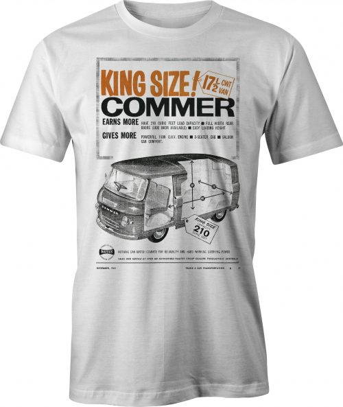 King Size Commer Van retro ad t-shirt in white