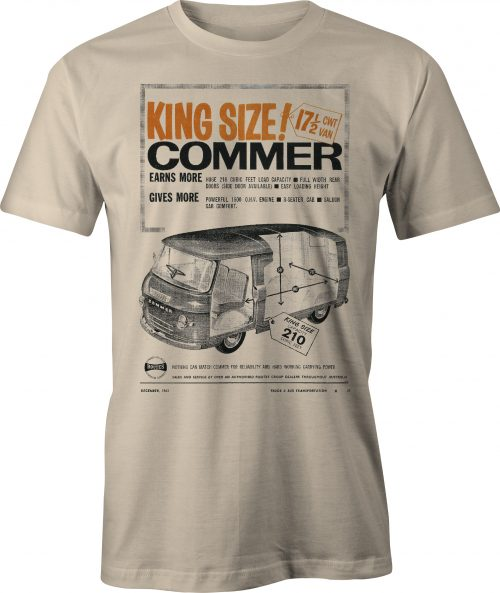 King Size Commer Van retro ad t-shirt in sand