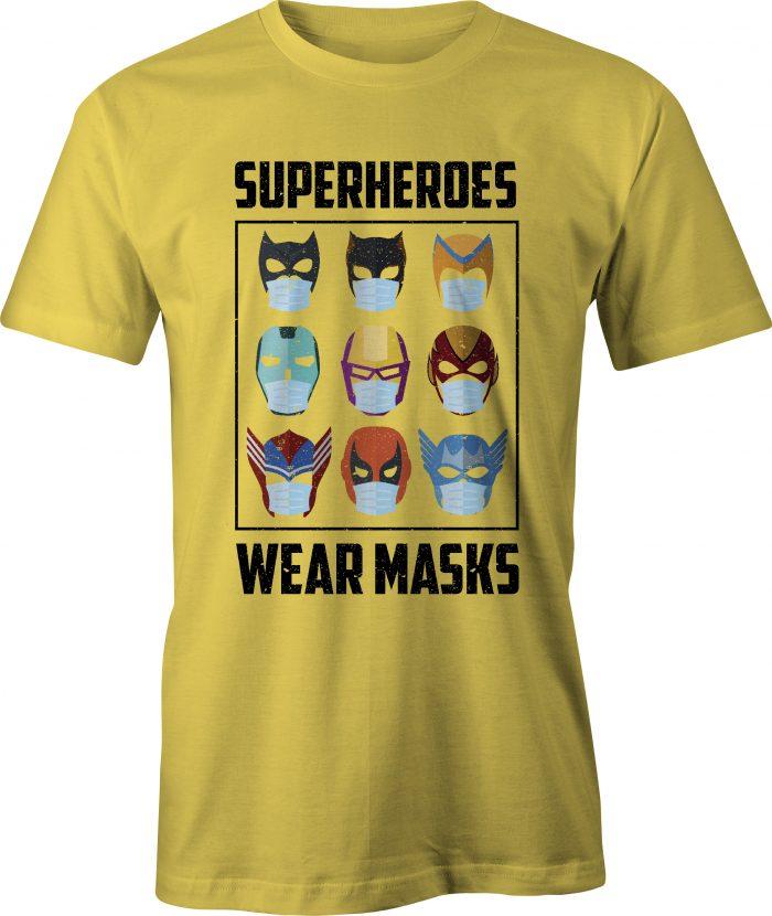 Superheroes Wear Masks T-Shirt in Daisy Yellow