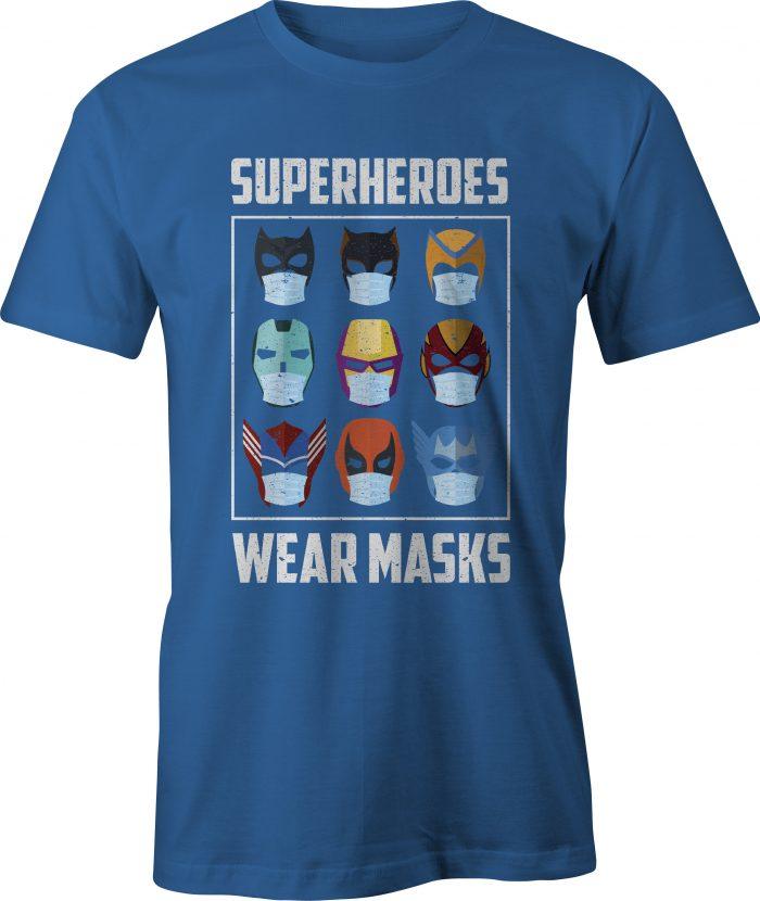 Superheroes Wear Masks T-Shirt in Royal Blue