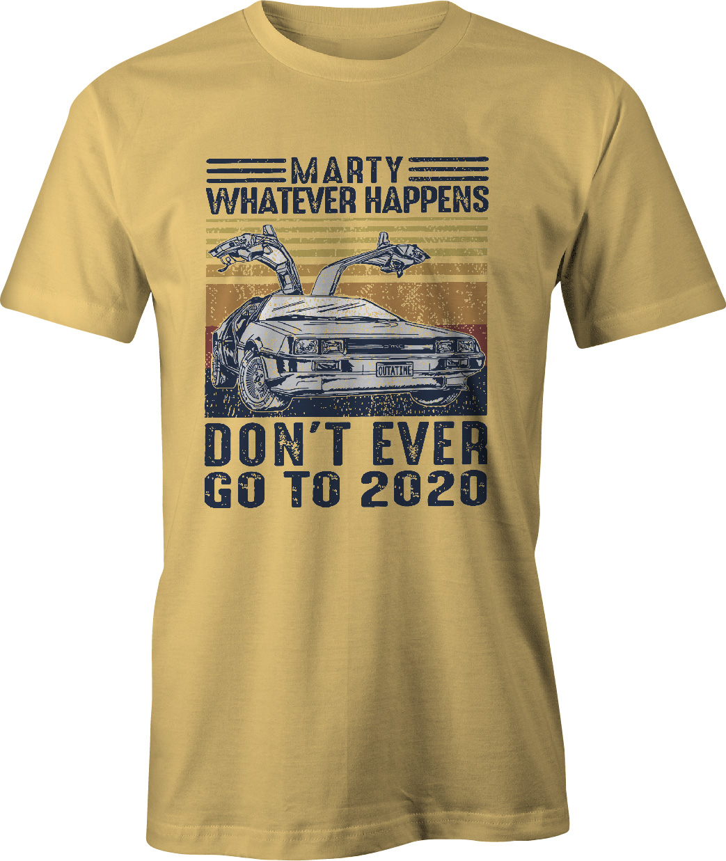 Back To The Future Don't Ever Go Back to 2021 T Shirt in yellow haze