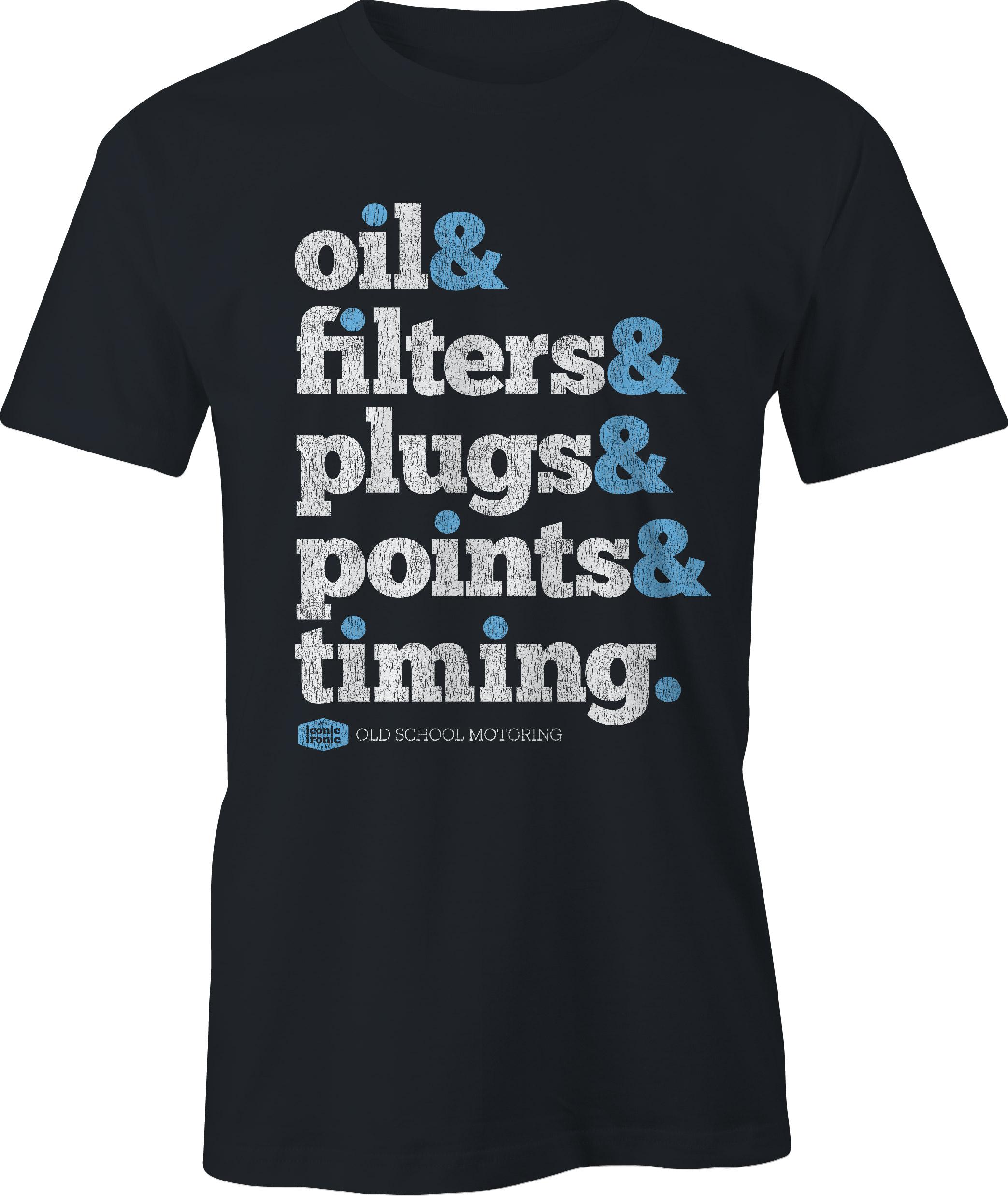 Oil & Filters Wording Black T Shirt