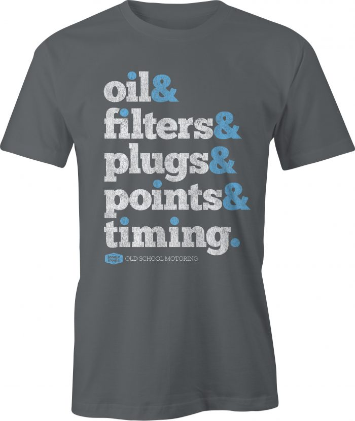 Oil & Filters Wording Charcoal T Shirt