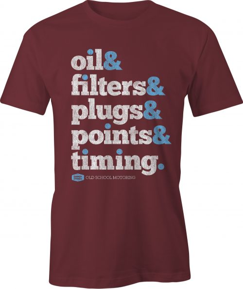 Oil & Filters Wording Maroon T Shirt