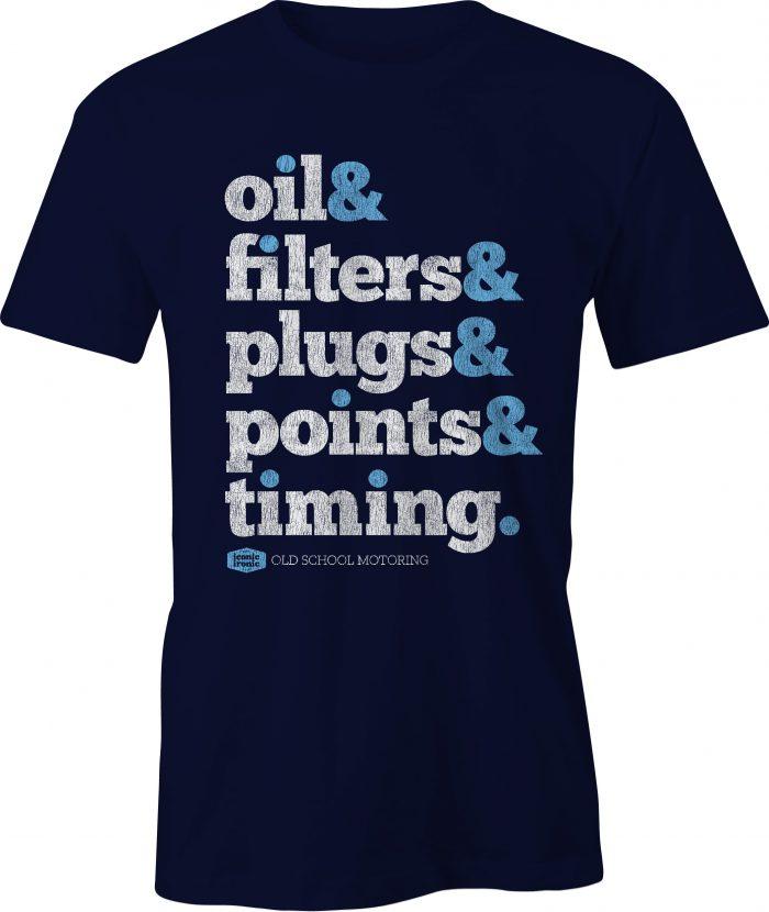 Oil & Filters Wording Navy T Shirt