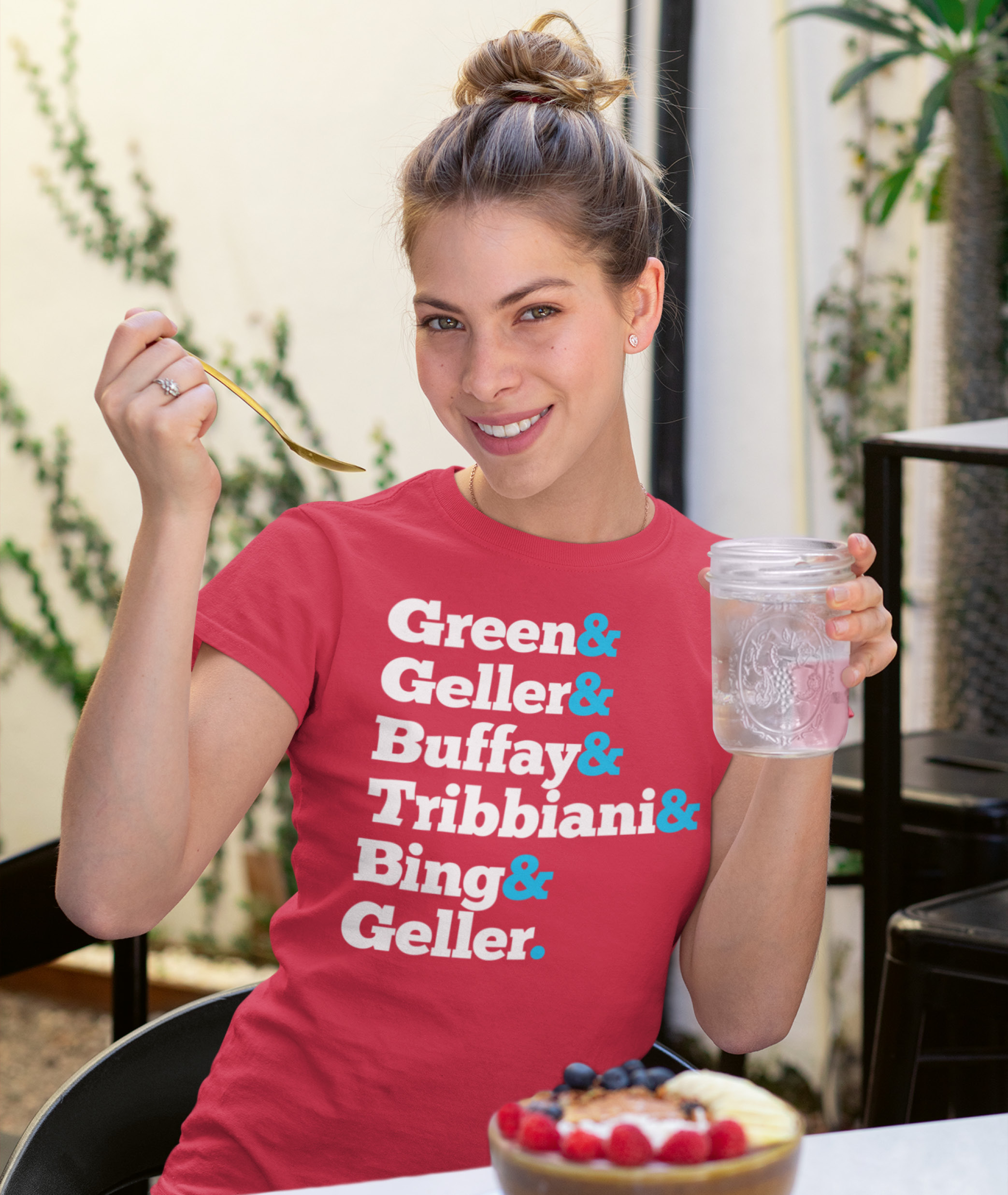 Lady wearing Red Friends Names T Shirt