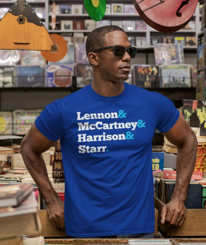 Beatles Names Royal Blue Ampersand T Shirt on Man