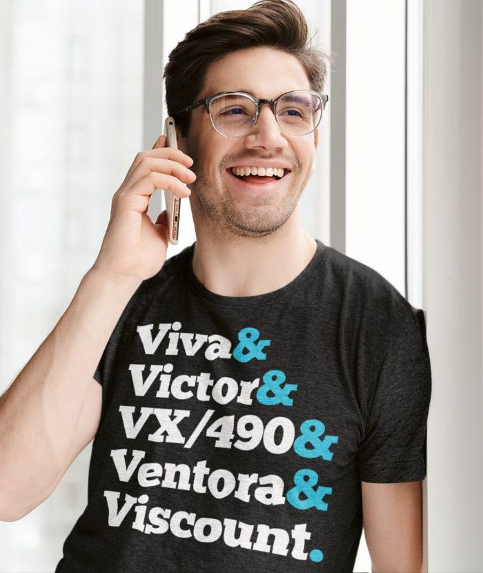 Man in Glasses wearing Dark Heather Vauxhall Names T Shirt