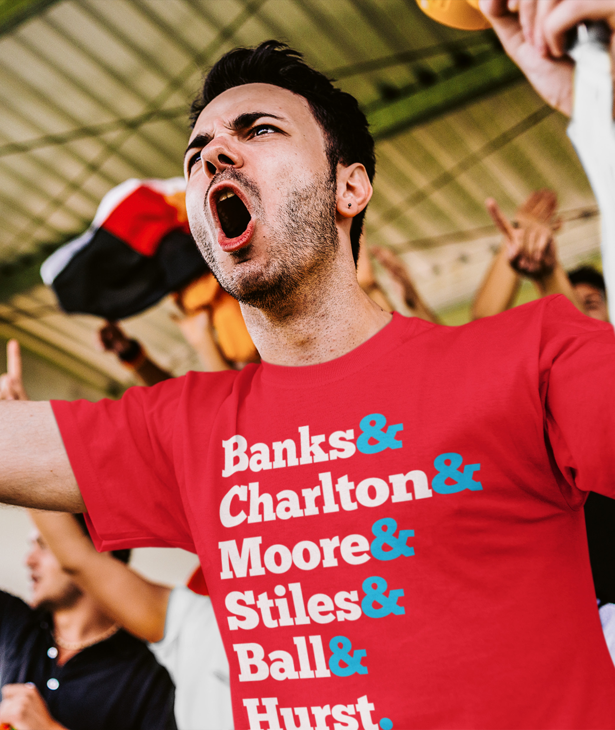 Man Wearing Red 1966 World Cup Names T Shirt