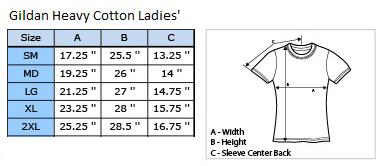 Ladies' Gildan Heavy Size Guide