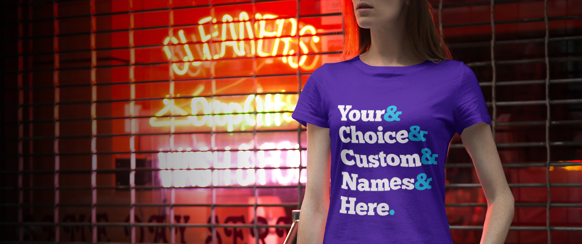 Woman outside dry cleaners wearing generic ampersand t shirt