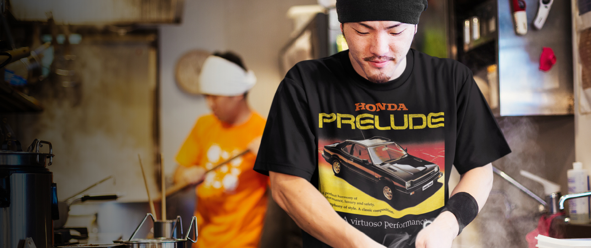 Japanese chef cooking wearing a Honda Prelude t shirt