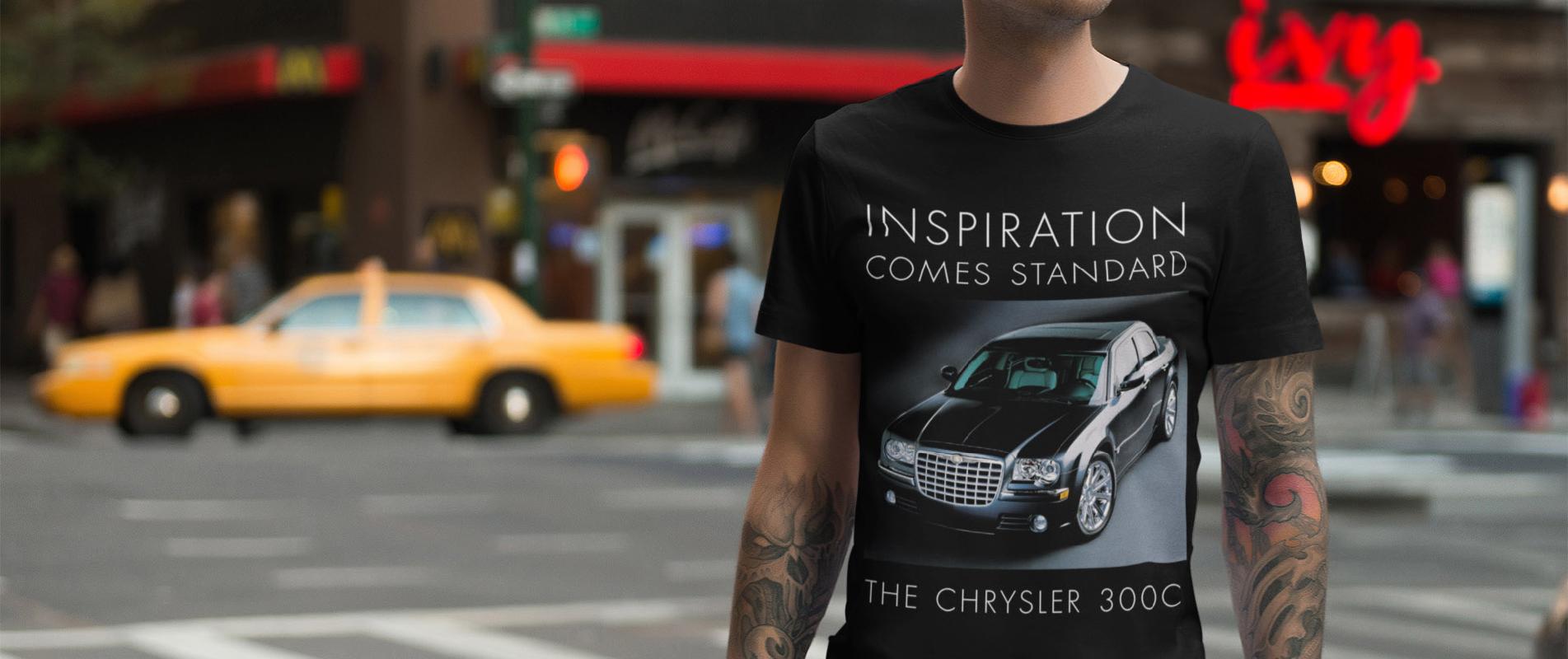 Tattooed man on a New York street wearing a Chrysler 300C t shirt