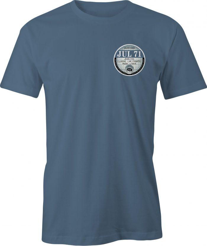 Car Tax T Shirt Indigo Blue Left Chest Graphic July 71 Example T Shirt