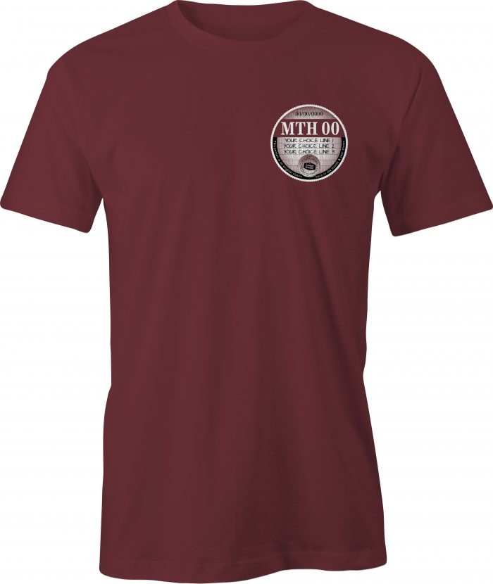 Car Tax T Shirt Maroon Left Chest Graphic Generic Example T Shirt