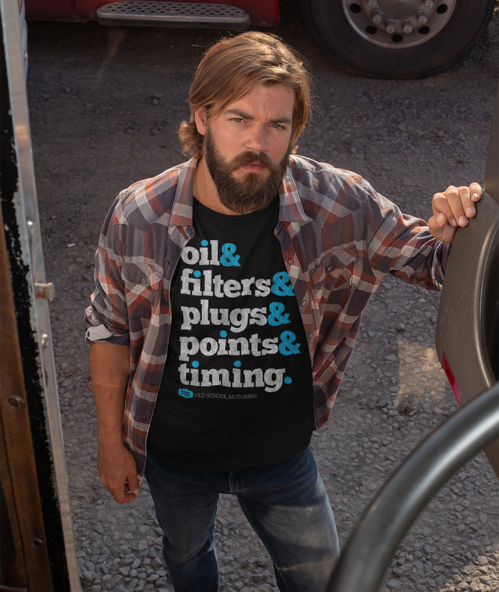 Man wearing Oil, Filters & Plugs T Shirt