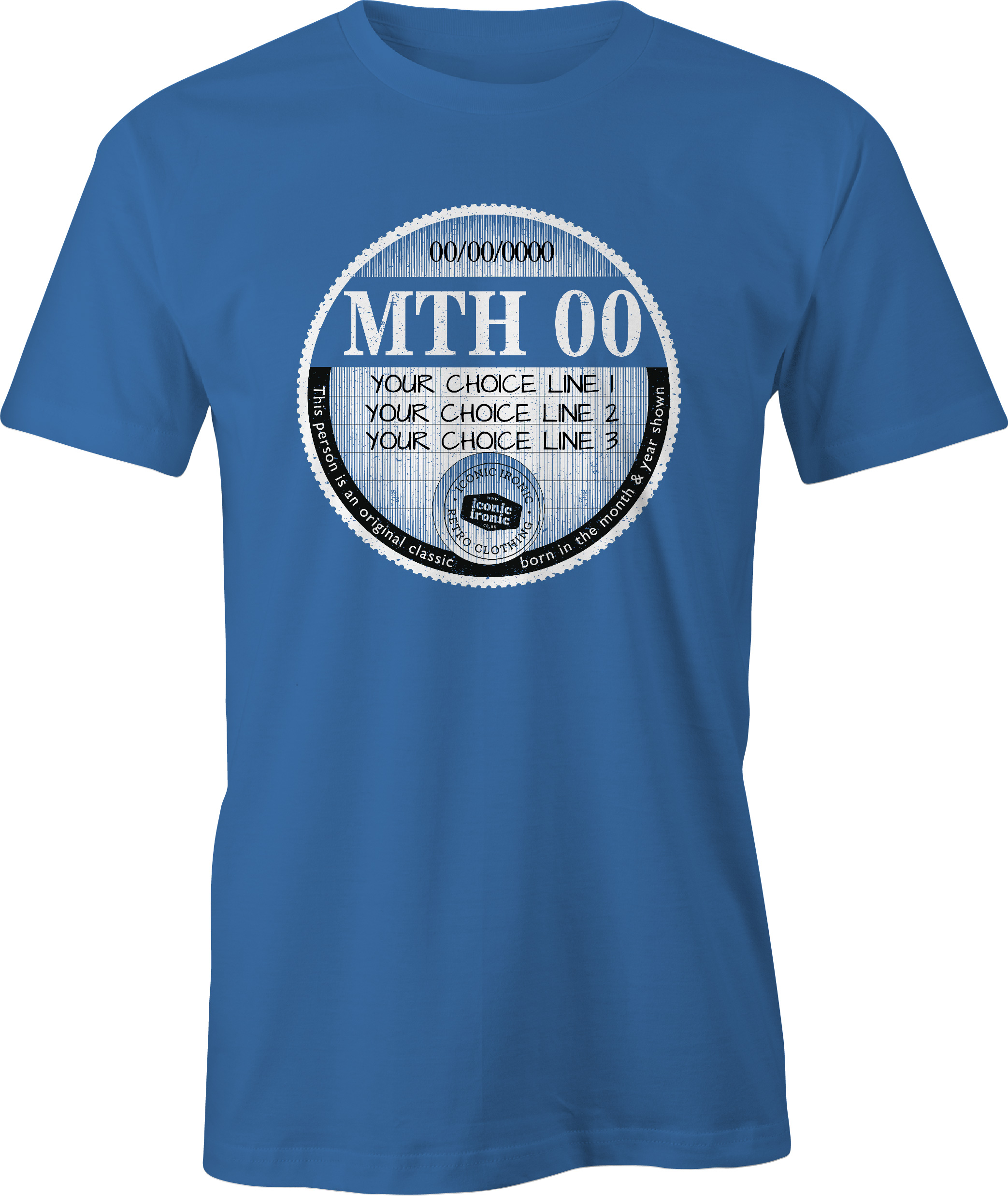 Blue car tax t-shirt with large graphic