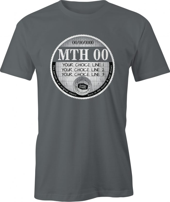 Charcoal car tax t-shirt with large graphic