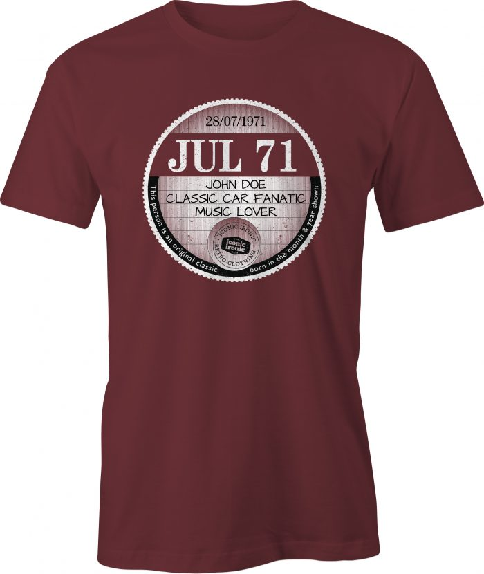 Maroon car tax t-shirt with large graphic