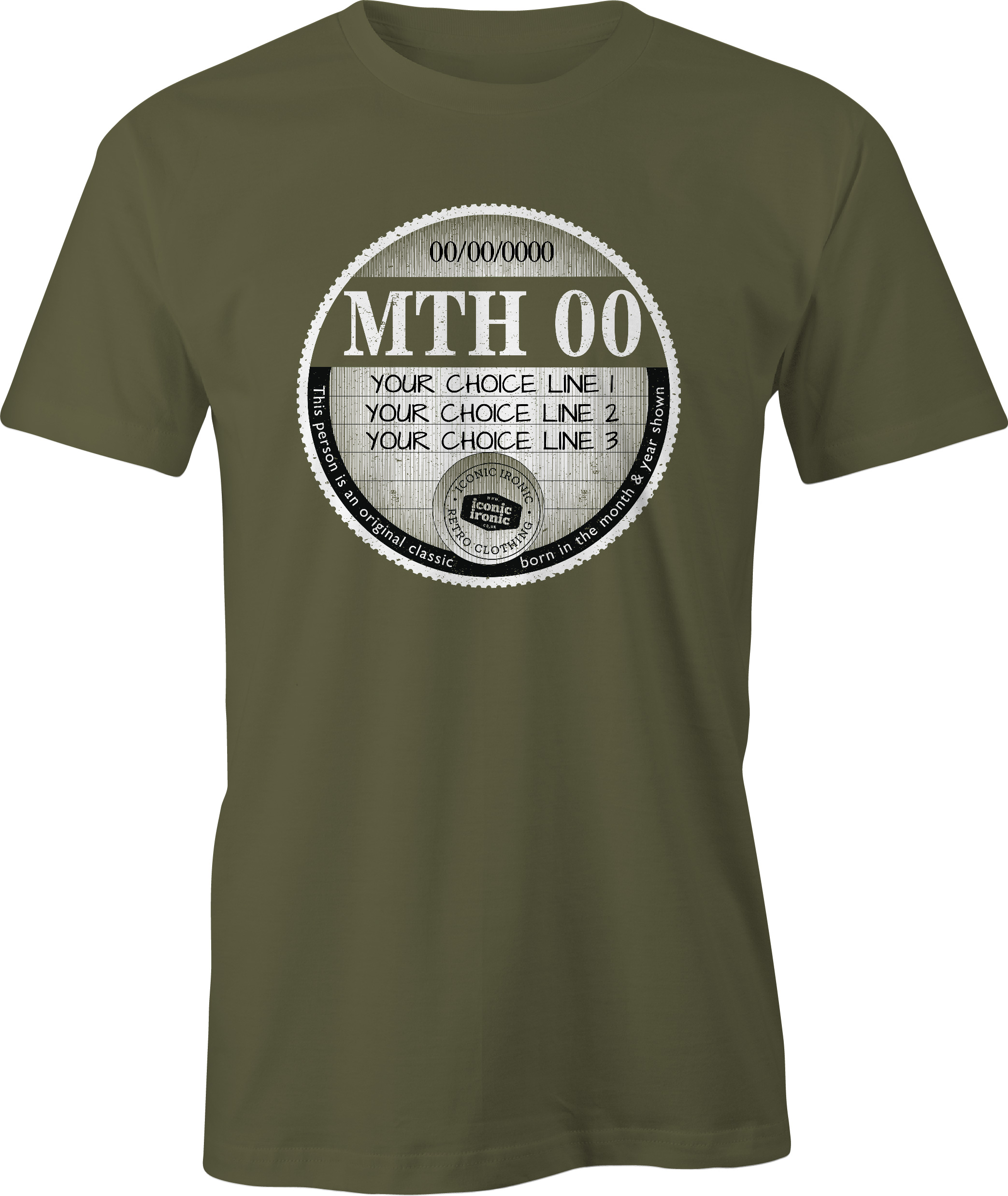 Military green car tax t-shirt with large graphic