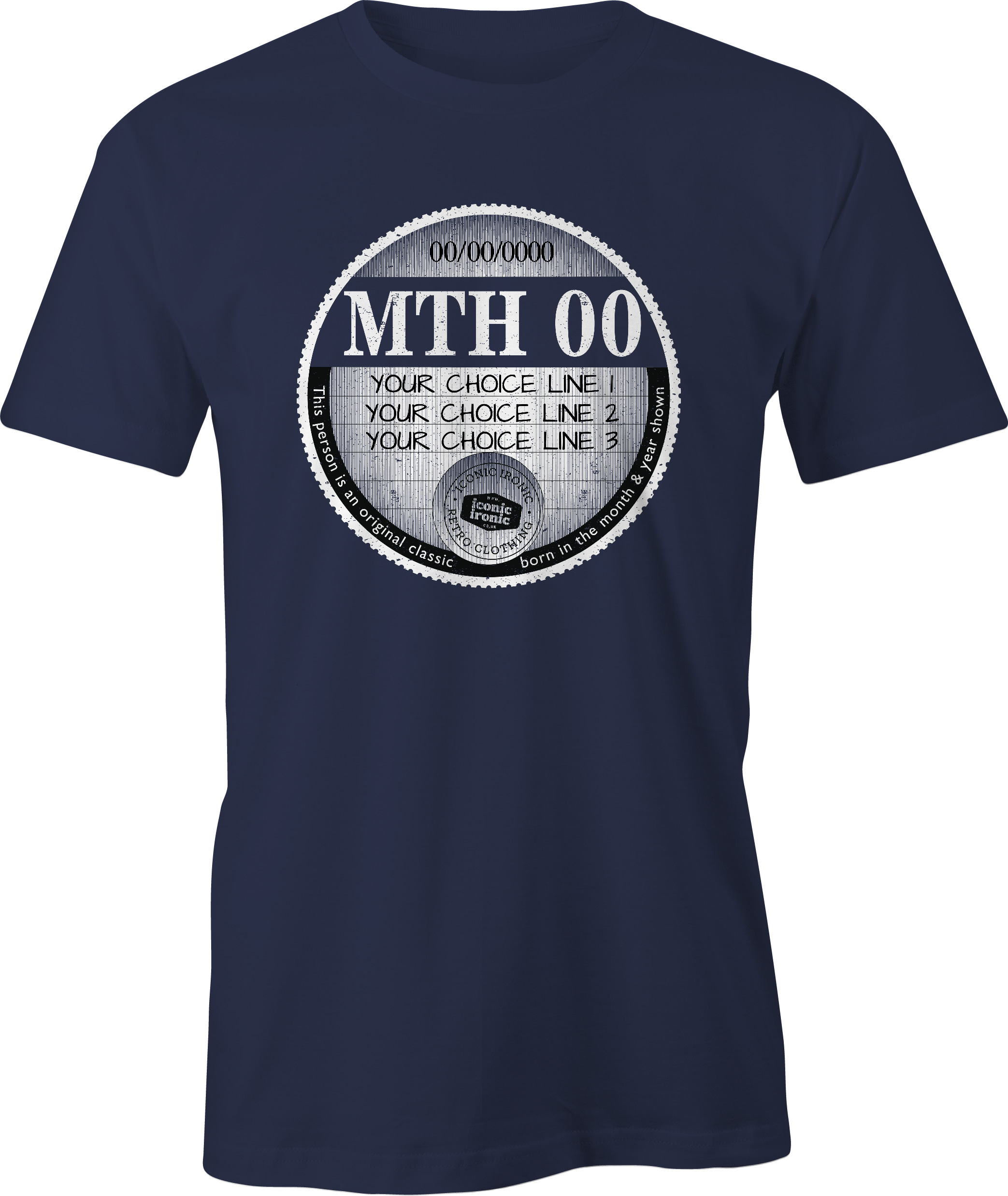 Navy car tax t-shirt with large graphic