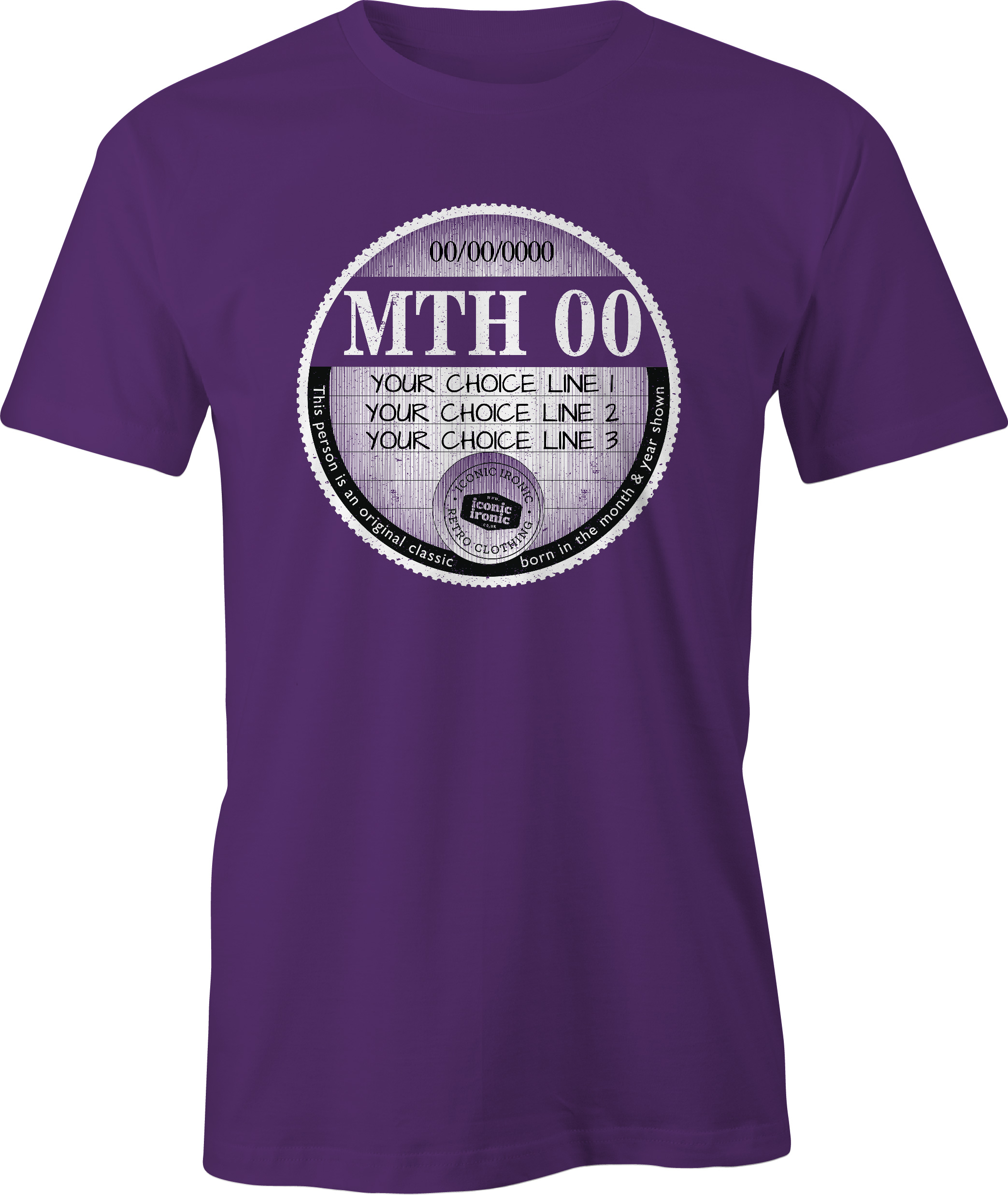 Purple car tax t-shirt with large graphic