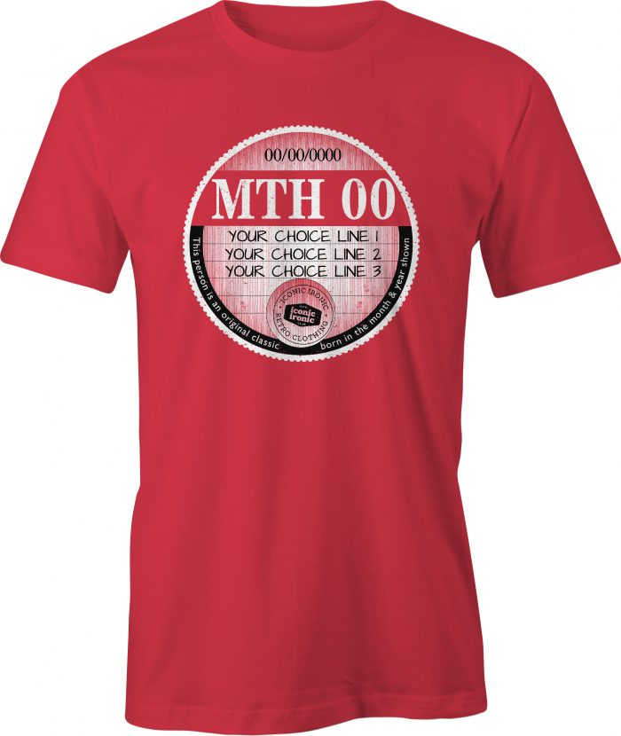 Red car tax t-shirt with large graphic