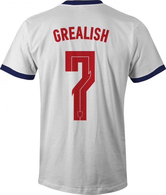 England Jack Grealish No 7 Euro 20 T Shirt back