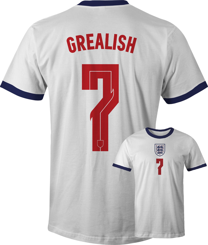 England Jack Grealish No 7 Euro 20 T Shirt front and back