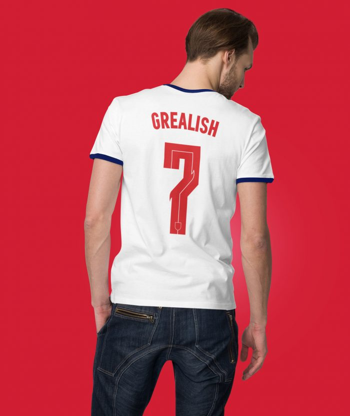 Back view of man wearing England Euro 2020 Grealish t shirt