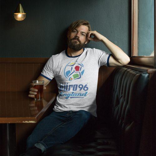 man in pub wearing euro 96 ringer t-shirt